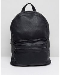 Stradivarius - Faux Leather Backpack In Black - Lyst
