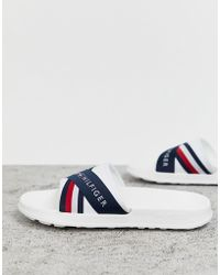 Tommy Hilfiger - Splash Slider With Crossover Logo And Icon Stripe In White - Lyst