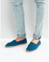 ASOS - Slip On Espadrilles In Textured Blue Stripe - Lyst