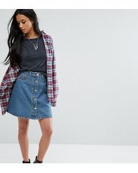 Noisy May Petite - Button Through Denim Skirt - Lyst