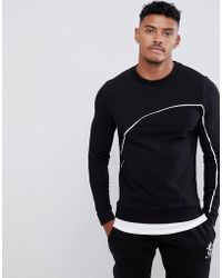 ASOS - Muscle Sweatshirt With Hem Extender And Piping In Black - Lyst