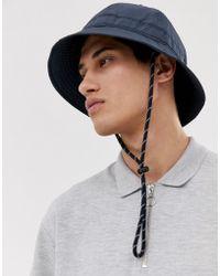 ASOS - Wide Brim Bucket Hat In Dark Navy - Lyst