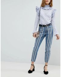 Lost Ink - Raw Hem Slim Mom Jeans With Pearl Trims - Lyst