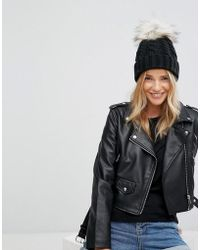 New Look - Cable Knit Pom Bobble Hat - Lyst