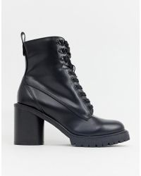 Faith - Barc Heeled Hiker Boots In Black - Lyst