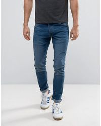 Solid - Slim Fit Jeans In Mid Blue Wash With Stretch - Lyst