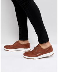 ASOS - Casual Brogue Shoes In Brown Leather With Ribbed Sole - Lyst