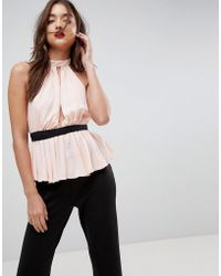 ASOS - Asos Ballet Wrap Top With Pephem - Lyst