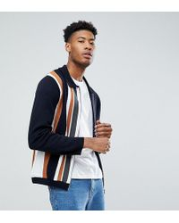 ASOS - Tall Knitted Jacket In Milano Stitch With Vertical Stripe - Lyst