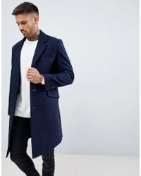 ASOS - Wool Mix Overcoat In Navy - Lyst