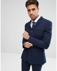 ASOS - Super Skinny Four Button Suit Jacket In Navy - Lyst