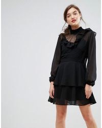 ASOS - Dobby Ruffle Mini Dress - Lyst