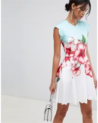 d264808ea Tie The Knot Tunic Dress With Applique Lace.  340  153 (55% off). ASOS · Ted  Baker - Scalloped Skater Dress In Nectar Print - Lyst