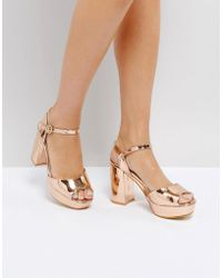 Truffle Collection - Metallic Platform Heeled Sandal - Lyst