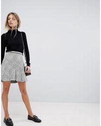 Oasis - Checked Frill Hem Mini Skirt - Lyst