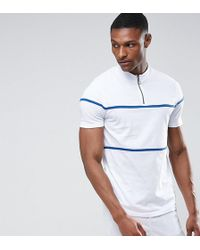 ASOS - Tall T-shirt With Zip Neck And Piping In Heavy Jersey - Lyst