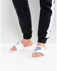 Nike - Benassi Jdi Sliders In White 343880-102 - Lyst