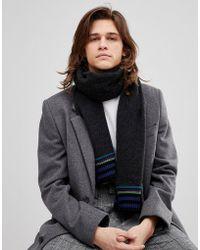 PS by Paul Smith - Wool Stripe End Scarf In Black - Lyst