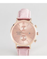 Reclaimed (vintage) - Inspired Chronograph Velvet Watch In Pink Exclusive To Asos - Lyst