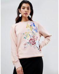Sportmax Code - Floral Embroidered Sweatshirt - Lyst