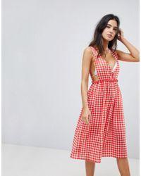 Lost Ink - Gingham Maxi Beach Dress - Lyst