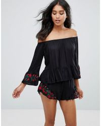 Rage | Off Shoulder Long Sleeve Embroidered Top | Lyst