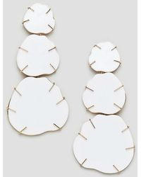 ASOS - Earrings In White Resin With Gold Detail - Lyst