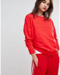 HUGO - Reverse Signature Sweater In Red - Lyst