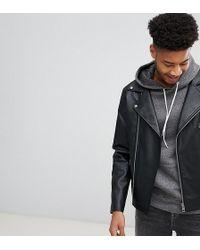 ASOS - Design Tall Leather Look Biker Jacket In Black - Lyst