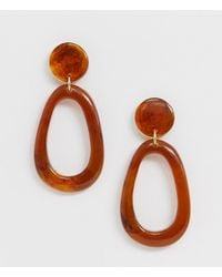 ASOS - Earrings In Open Shape With Amber Style Resin - Lyst