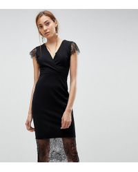 ASOS - Pencil Dress With V Neck And Lace Sleeves And Hem - Lyst