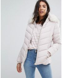 Miss Selfridge - Faux Fur Collar Padded Jacket - Lyst
