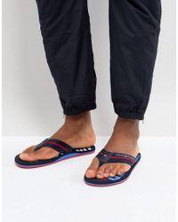 Tommy Hilfiger - Bold Stripe Logo Webbing Thongs In Navy - Lyst