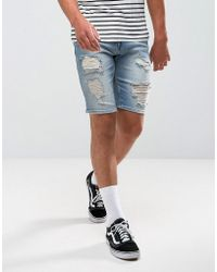 ASOS - Denim Shorts In Skinny Mid Wash Vintage Blue With Heavy Rips - Lyst