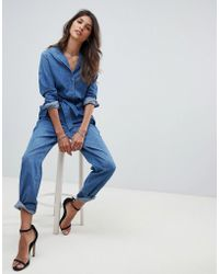 G-Star RAW - Belted Denim Jumpsuit - Lyst