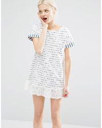 I Love Friday - T-shirt Dress In Breton Stripe With Lace Trim Hem - Lyst