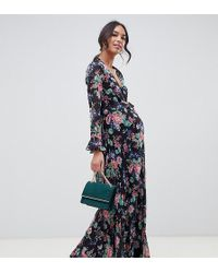 ASOS - Asos Design Maternity Pleated Wrap Maxi Dress With Ruffle In Floral Print - Lyst