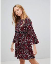 Girls On Film - Floral Smock Dress With Eyelet Detail - Lyst