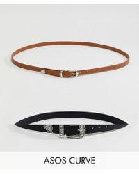 ASOS - Asos Design Curve 2 Pack Western Waist & Hip Belts - Lyst