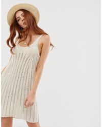 2f6abccdd9 ASOS - Swing Dress With Ladder Stitch In Natural Look Yarn - Lyst
