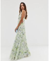 ASOS - Embellished Floral Strappy Back Maxi Dress - Lyst