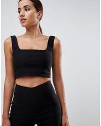 Vesper - Square Neck Crop Top Co-ord In Black - Lyst
