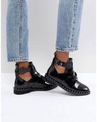 ASOS - Amelie Leather Cut Out Ring Boots - Lyst