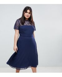 ASOS - Asos Design Curve Lace Insert Panelled Midi Dress - Lyst