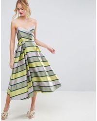 ASOS - Salon Bandeau Stripe Midi Prom Dress - Lyst