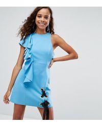 Scuba Eyelet Tie Up Ruffle Mini Dress - Cobalt Asos oEfSsQvt