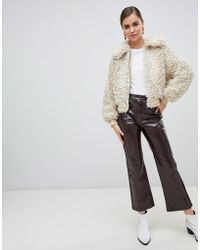 Monki - Flared Patent Trousers In Brown - Lyst