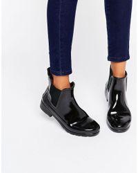 HUNTER - Original Refined Black Gloss Chelsea Gumboots - Lyst