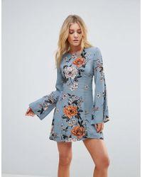 MINKPINK - New Romantic Flare Sleeve Floral Printdress - Lyst