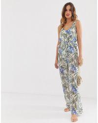 Y.A.S - Sheer Beach Jumpsuit In Tropical Print - Lyst